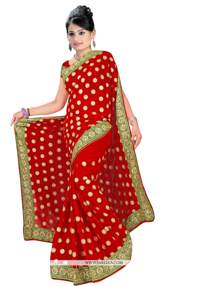 Maroon Embroidered Work Georgette Designer Saree