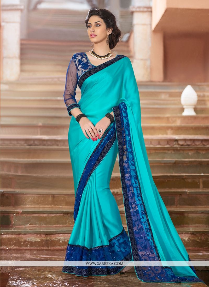 Patch Border Work Faux Crepe Designer Saree