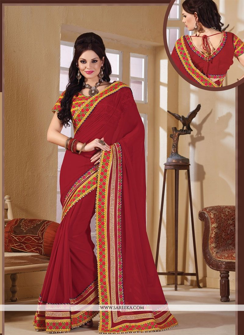 Patch Border Work Red Designer Saree