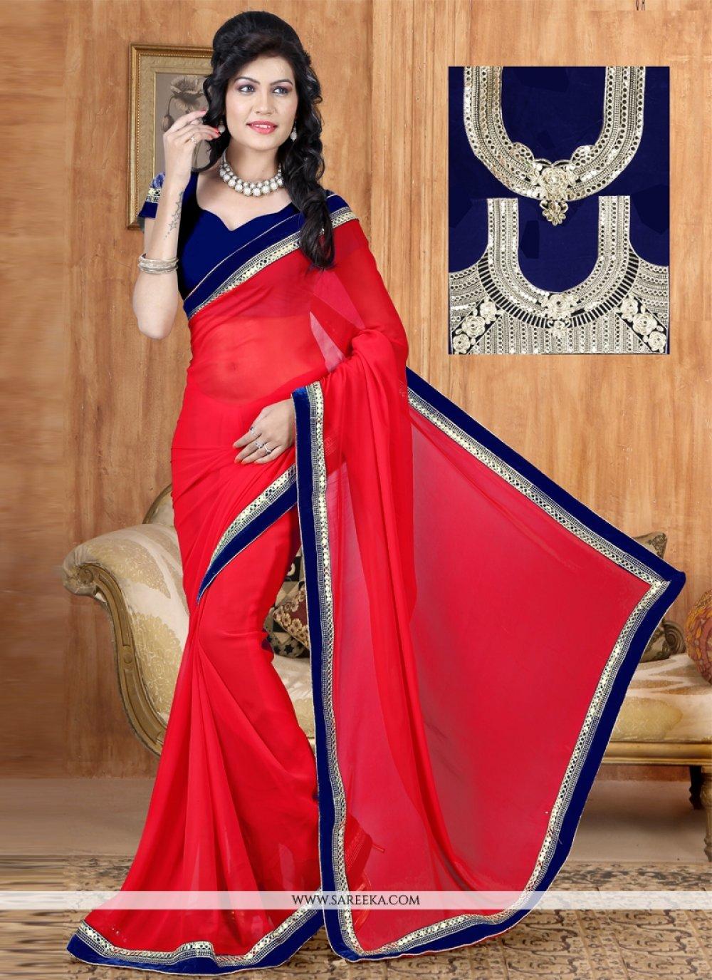 Red Lace Work Georgette Designer Saree