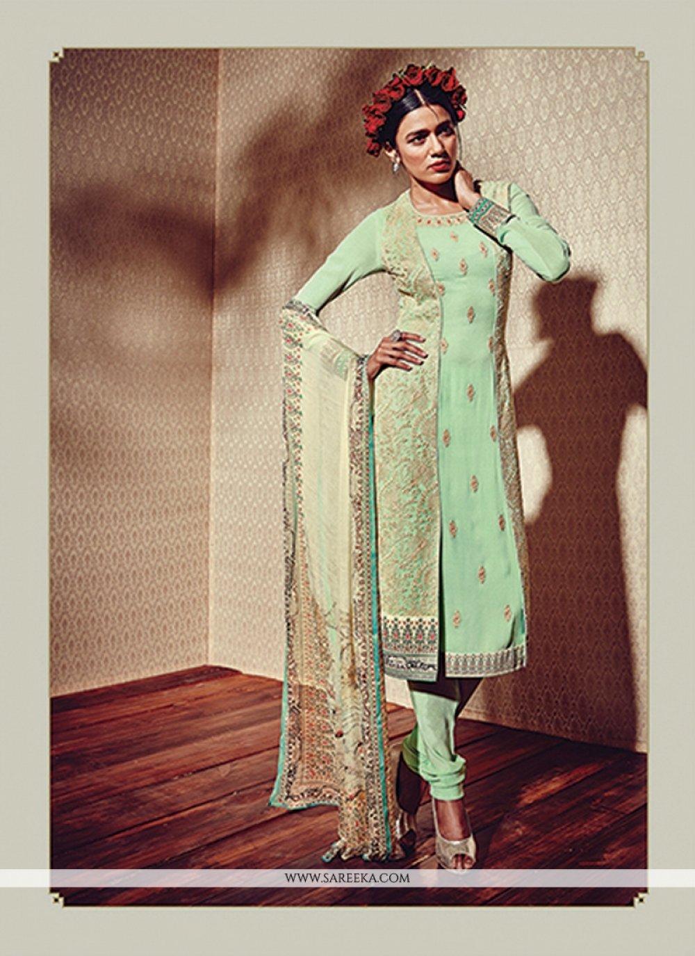 Sea Green Embroidered Work Georgette Designer Suit