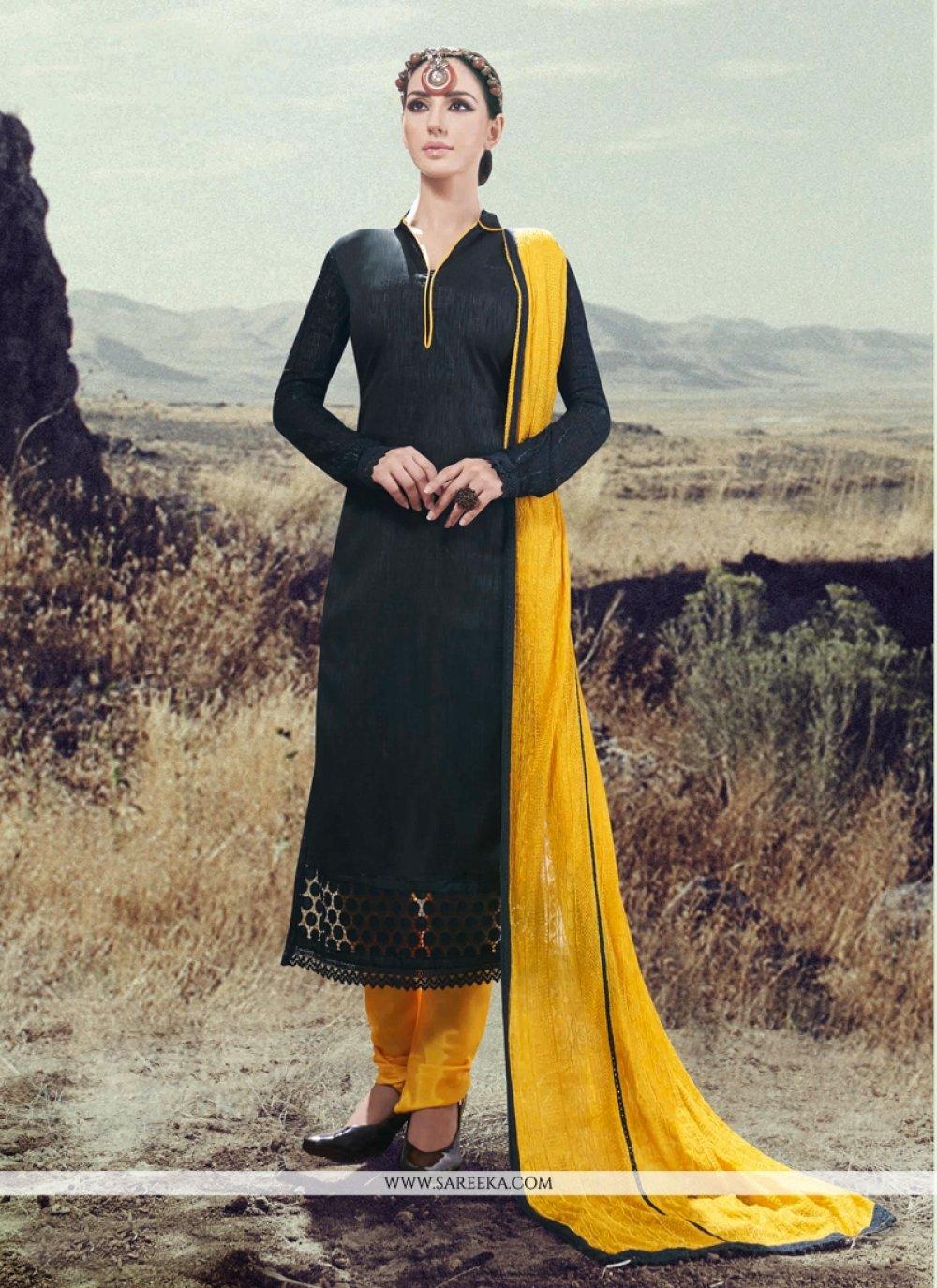 Silk Lace Work Designer Straight Salwar Kameez