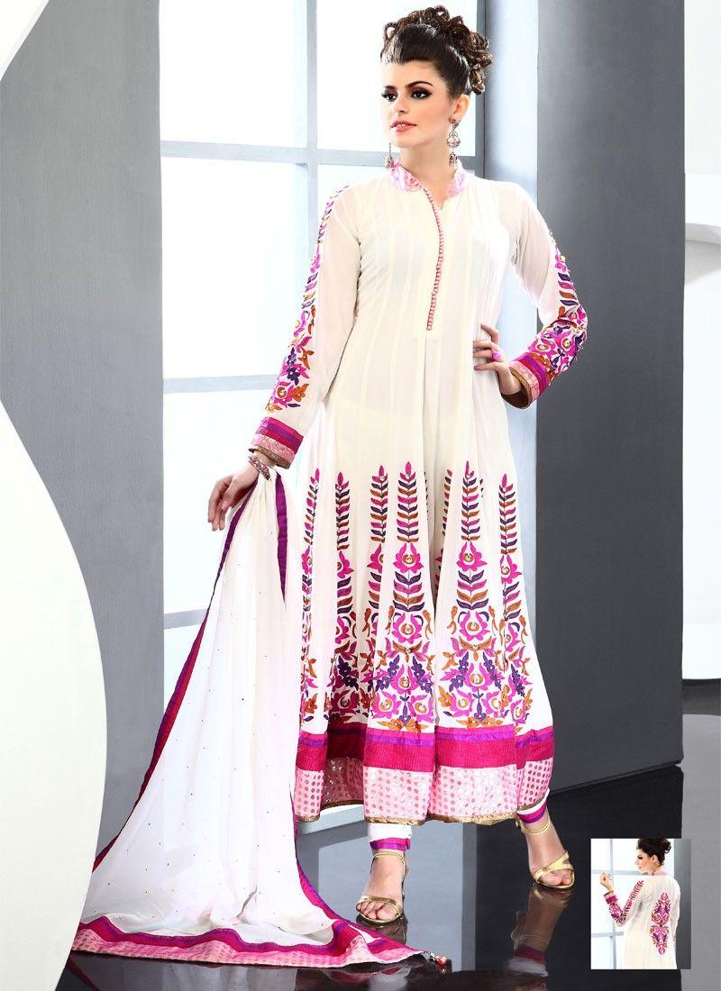 Enhanced Cream Viscose Anarkali Suit