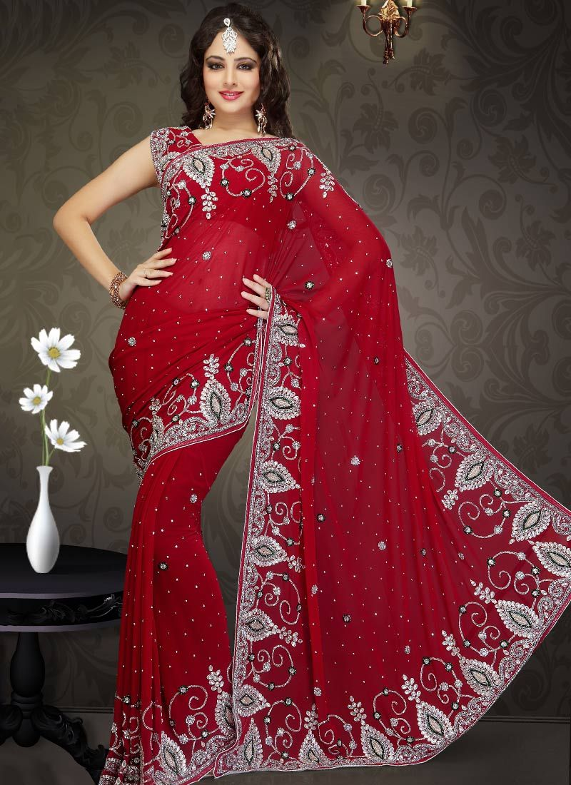 Enhanced Red Shade Faux Georgette Saree