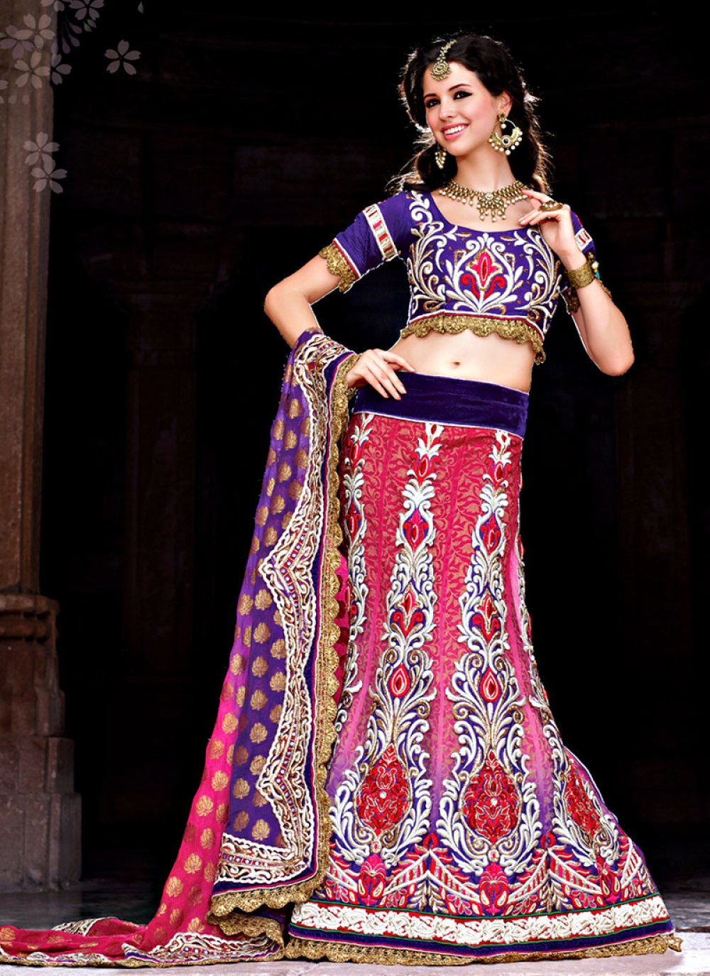 Enhancing Multi Colour Net Kalidar Lehenga Choli