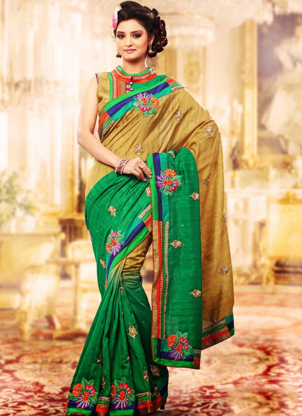 Enigmatic Apricot & Emerald Green Embroidered Saree