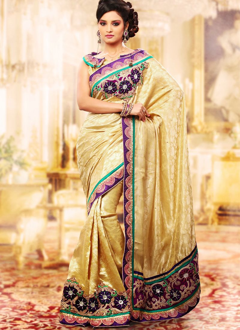Enigmatic Bige Brown Embroidered Saree