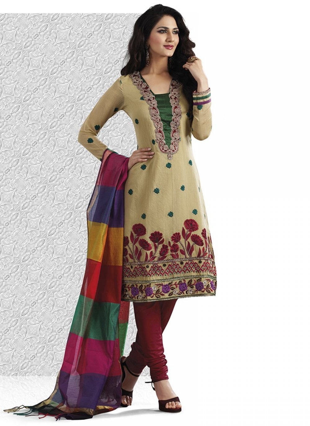 Enigmatic Bige Brown Salwar Kameez