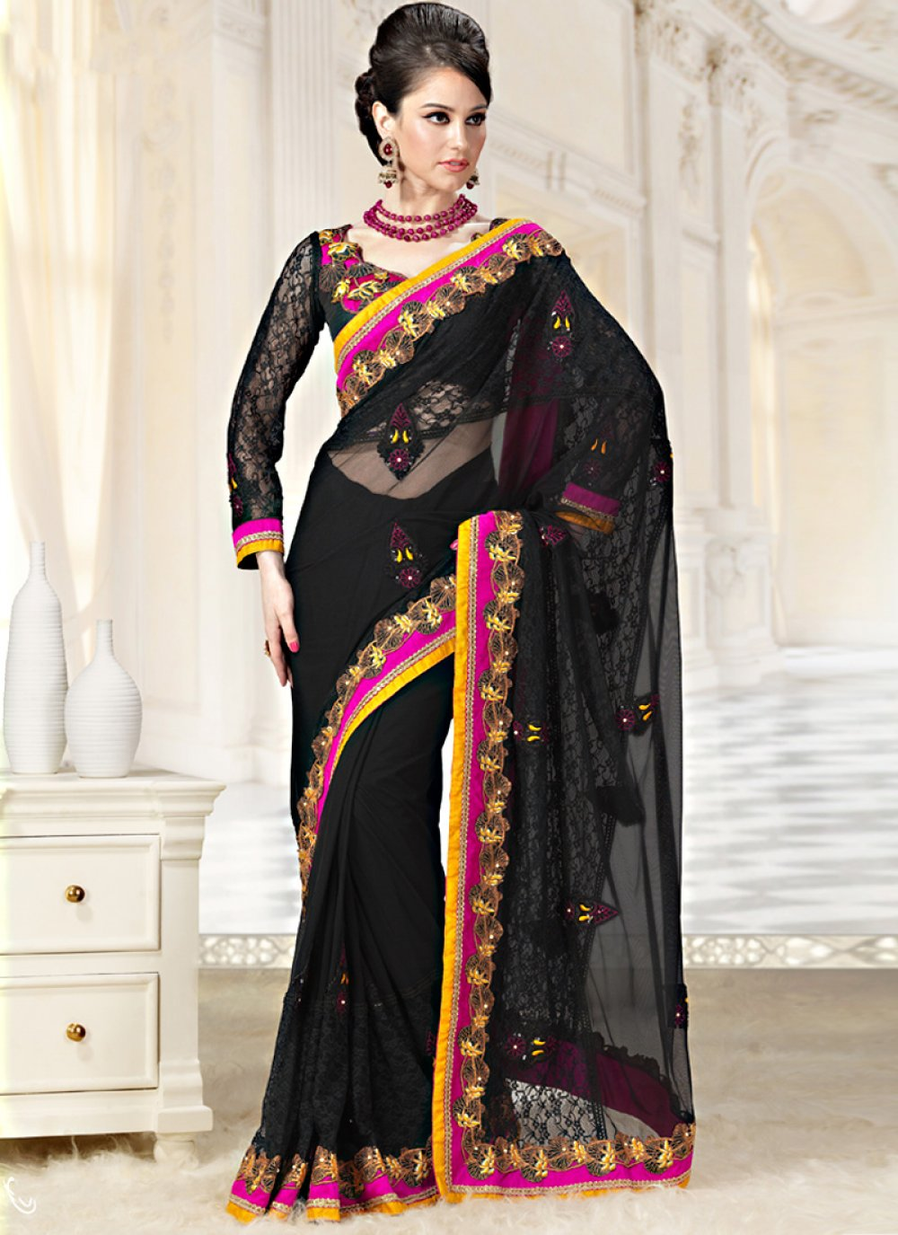 Enigmatic Black Net And Georgette Saree