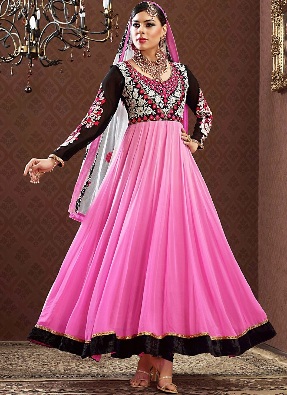 Enigmatic Black & Pink Anarkali Suit