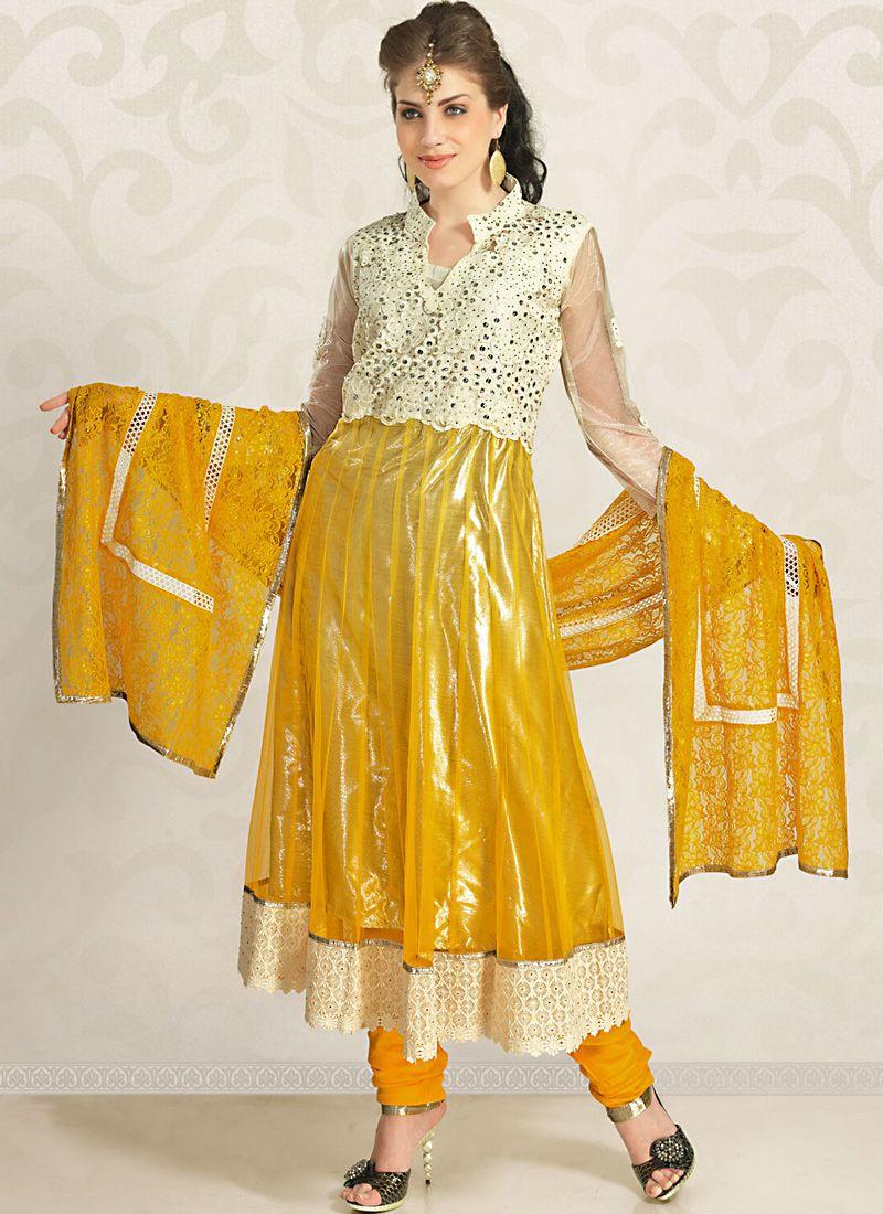 Enigmatic Buttercream & Gold Color Salwar Kameez