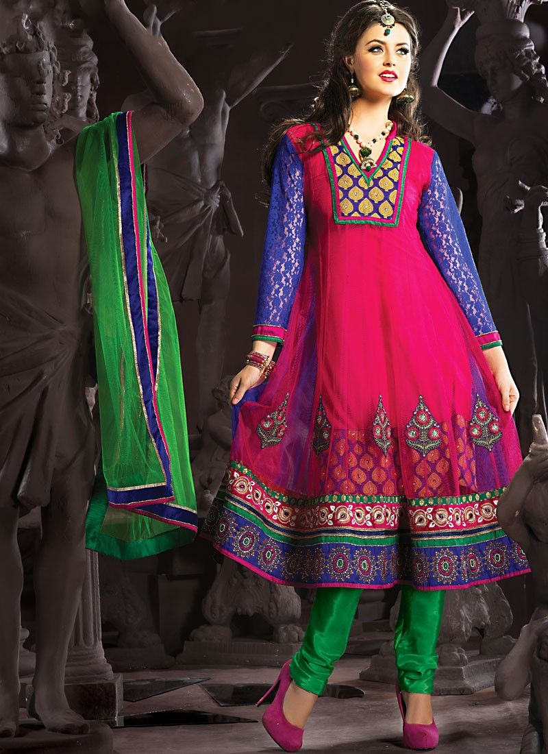 Enigmatic Deep Blue & Fuchsia Anarkali