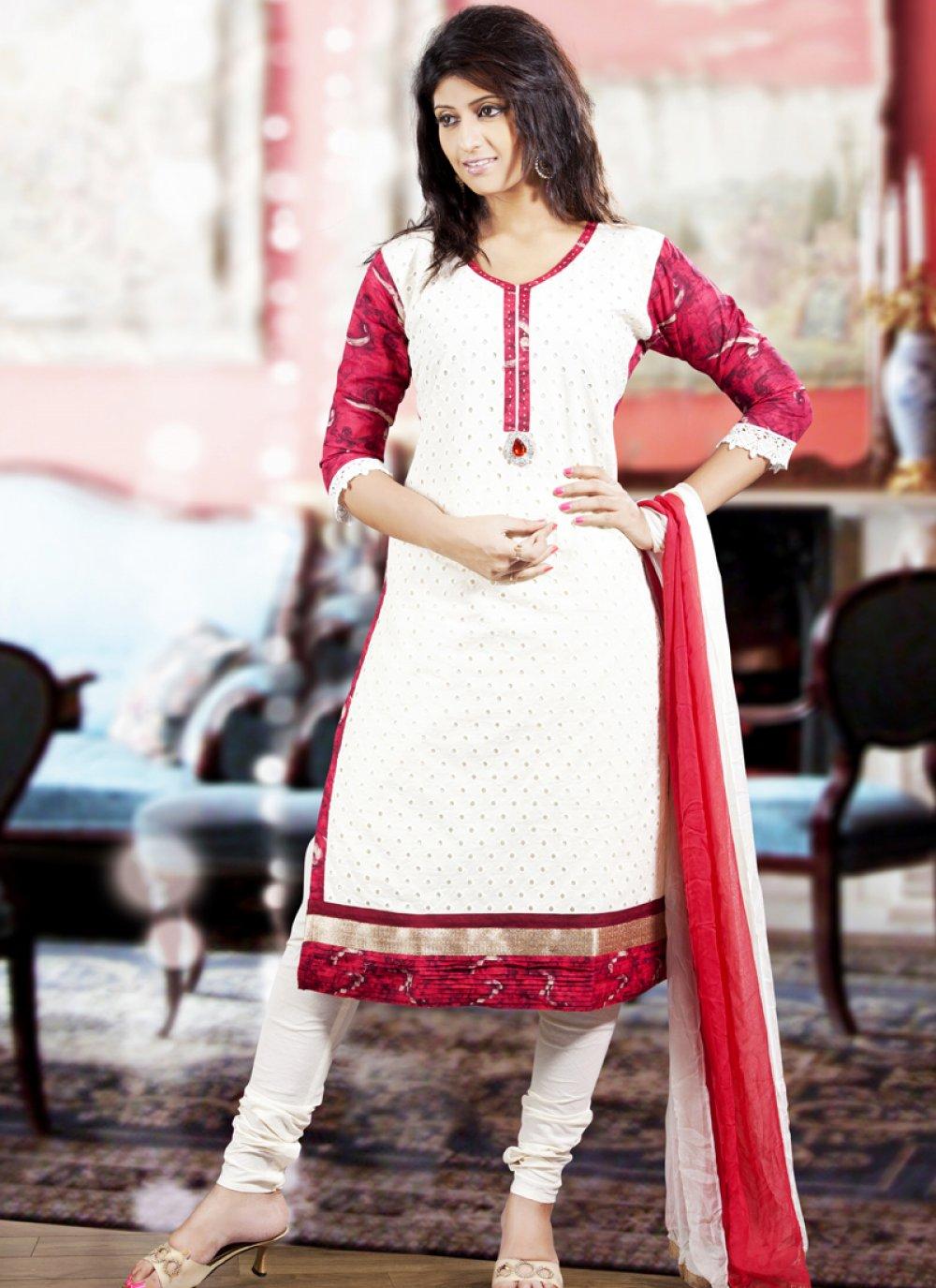 Enigmatic Deep Scarlet Red & White Salwar Kameez