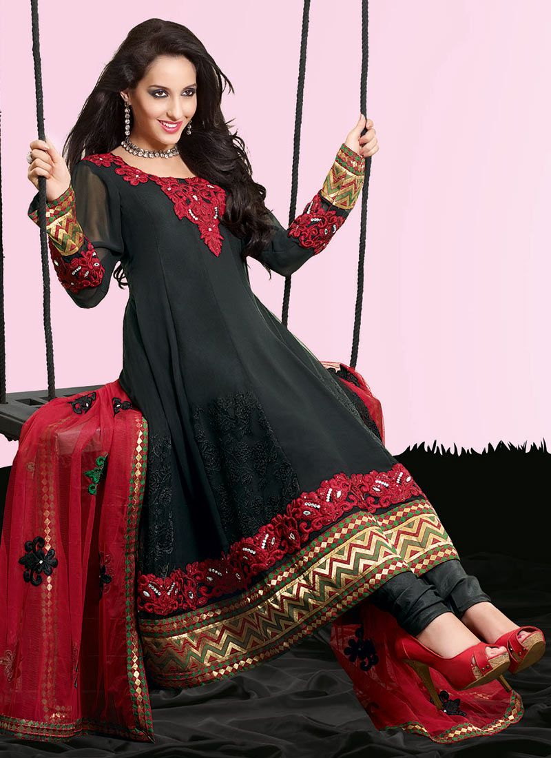 Black Faux Georgette Churidar Suit