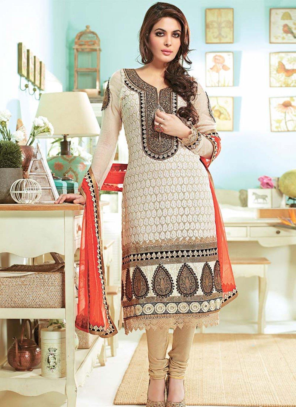 Cream Embroidered Churidar Suit