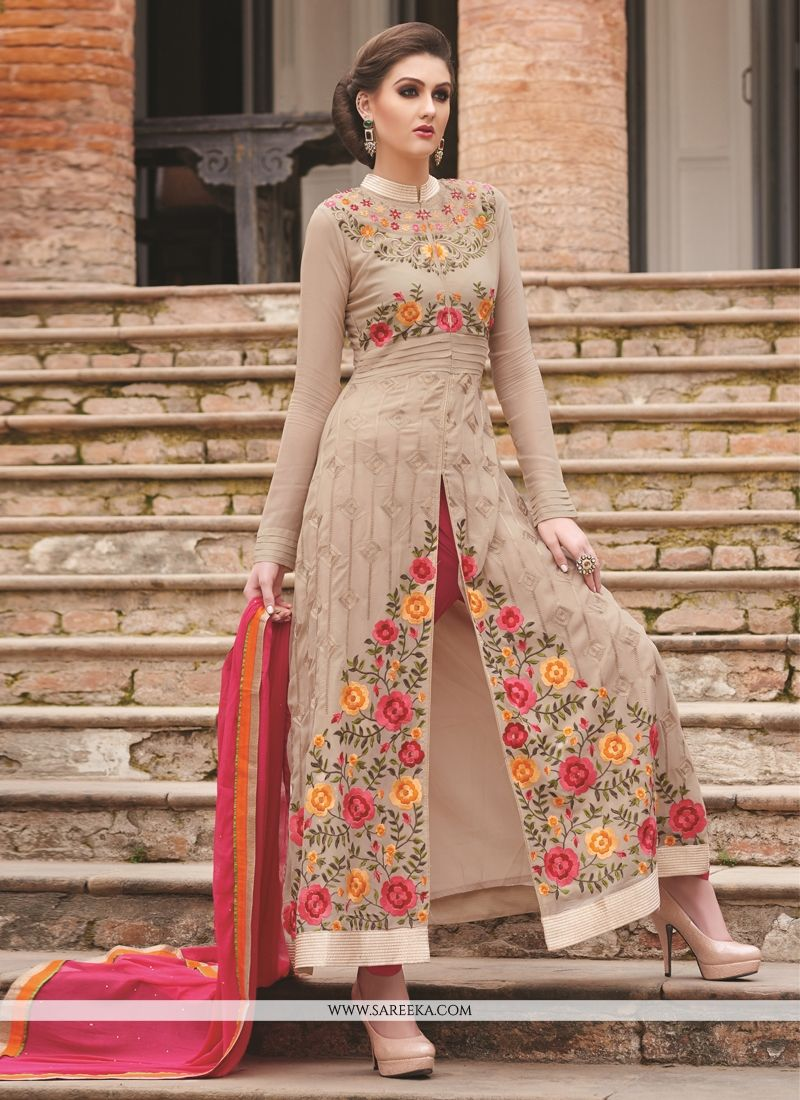 Embroidered Work Beige Designer Salwar Suit
