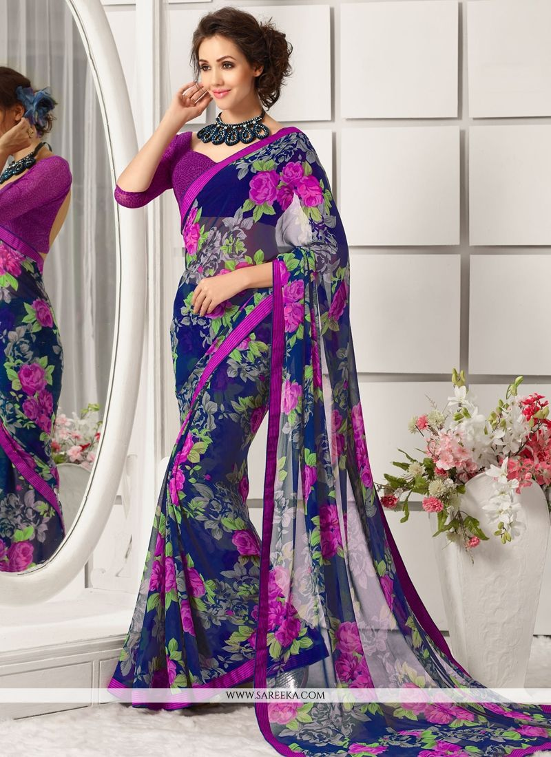 Georgette Blue Print Work Casual Saree