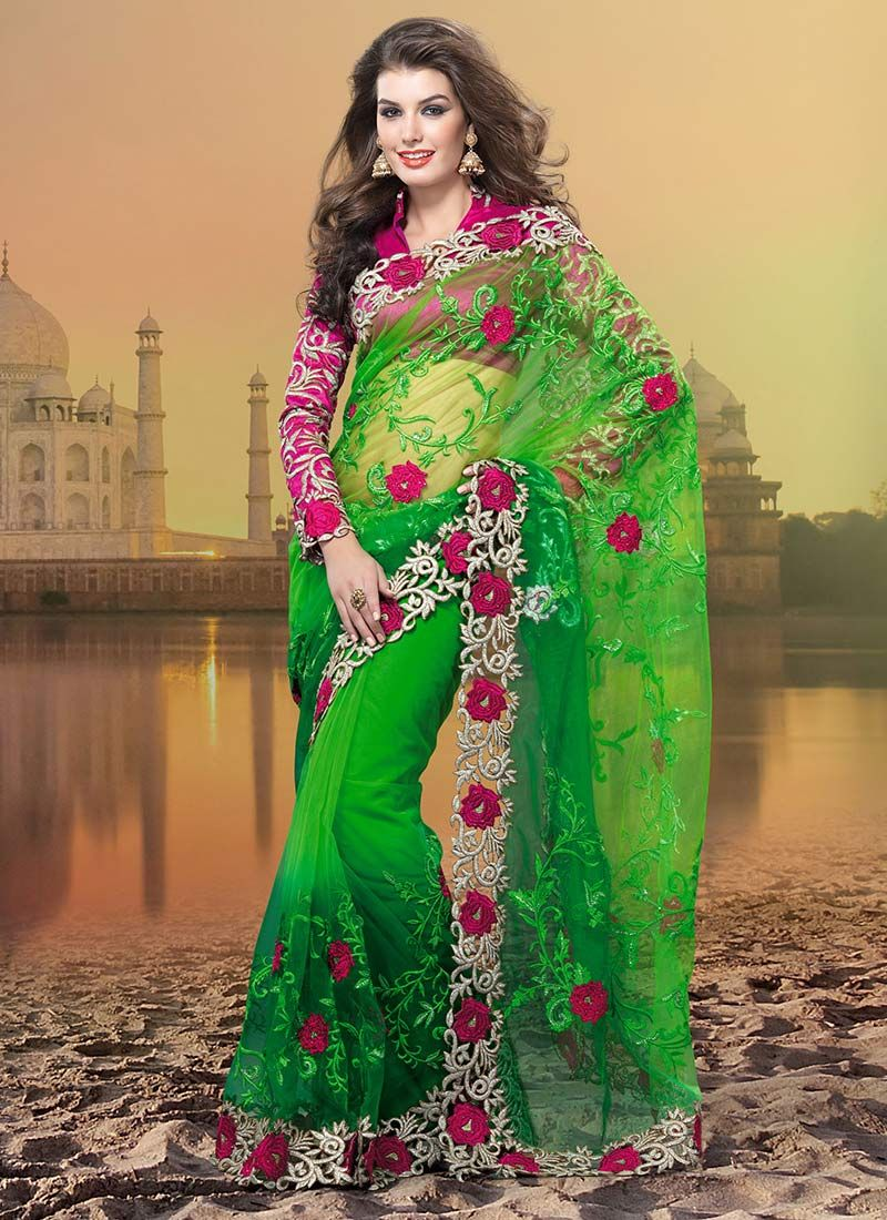 Green Resham Enhanced Net Saree