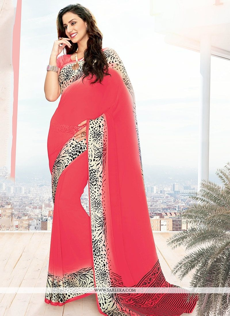 Hot Pink Lace Work Georgette Casual Saree