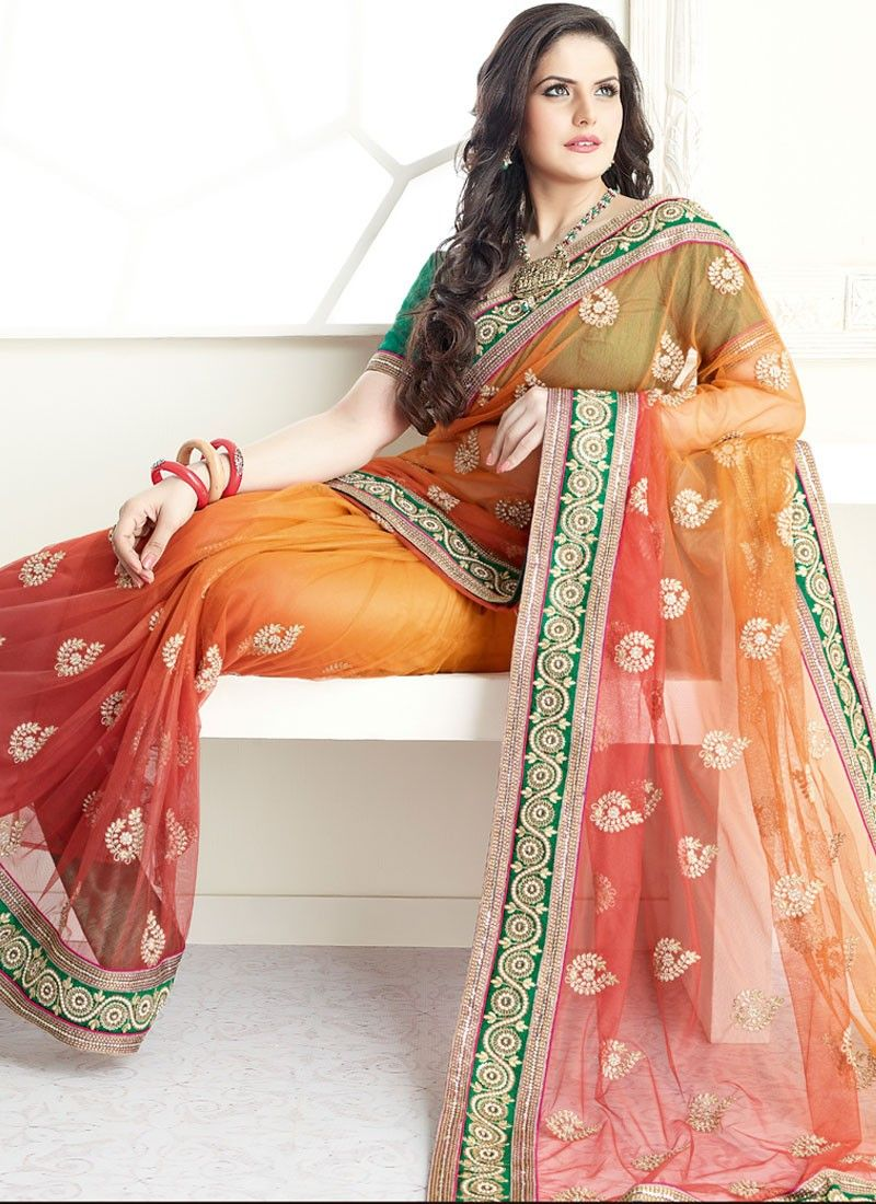 Light Rust And Brick Red Net Saree