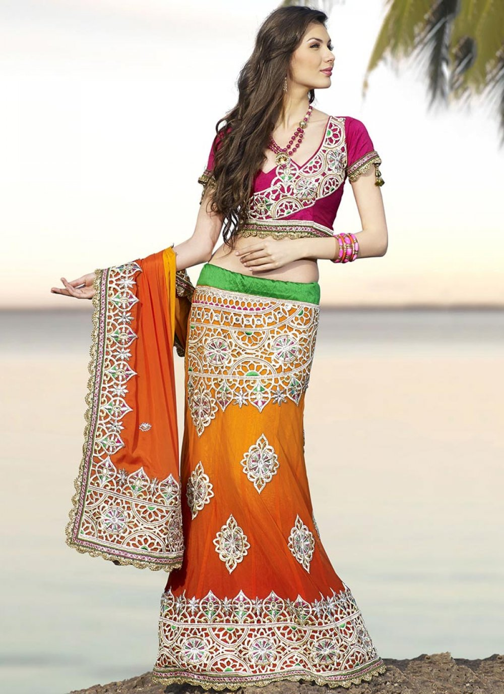 Orange Net And Chiffon Lehenga Saree