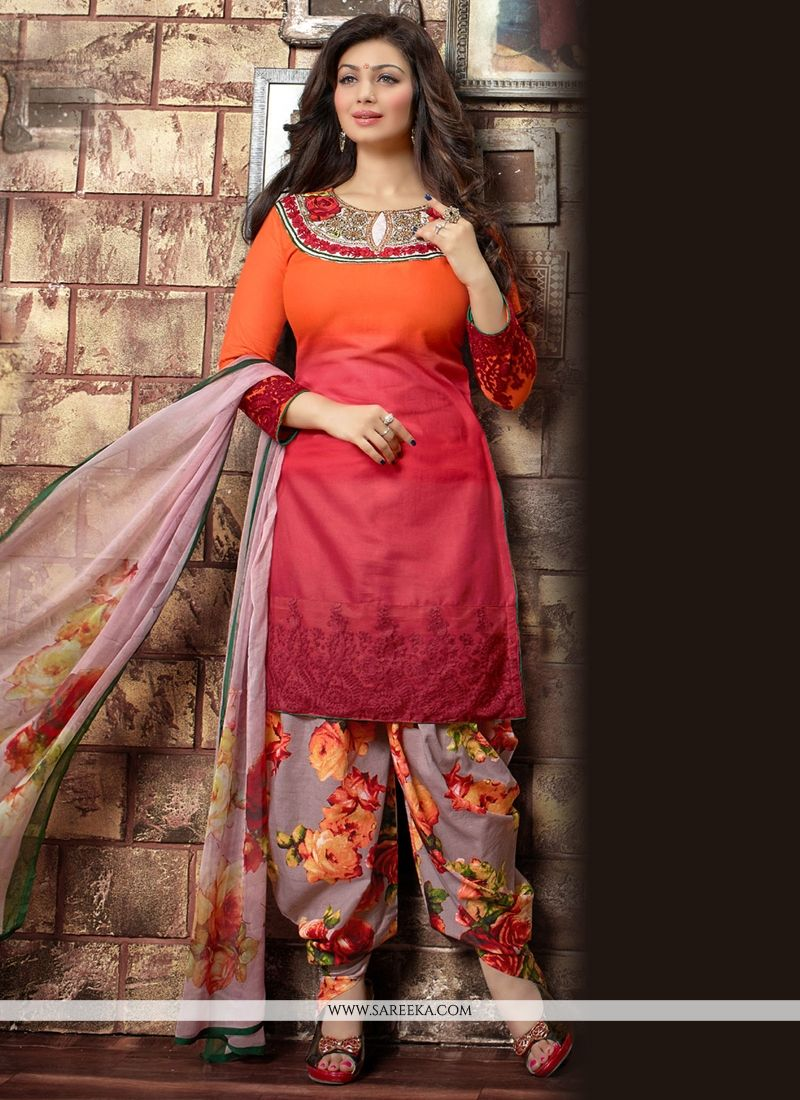 Red and Orange Embroidered Work Cotton Designer Patila Salwar Suit