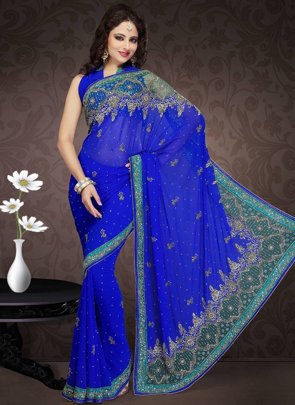 Blue Faux Georgette Saree