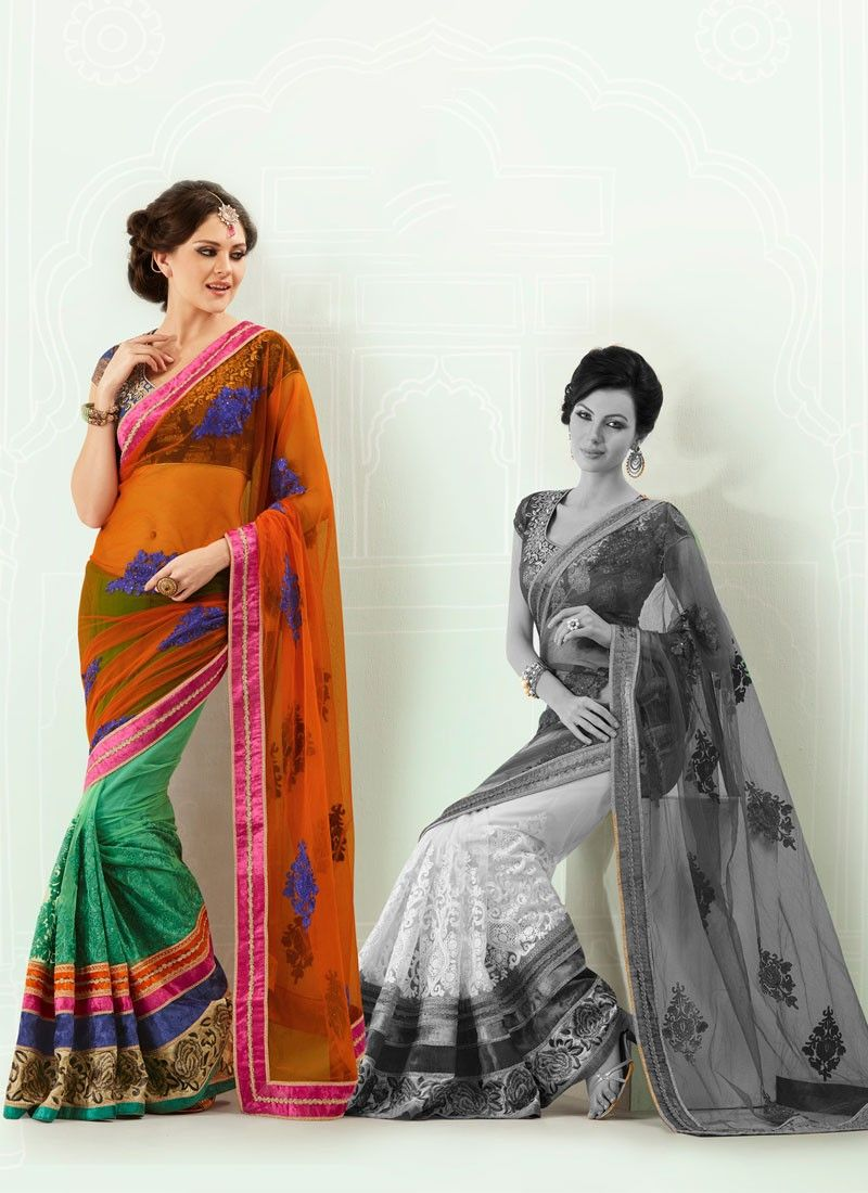 Rust And Green Net Saree