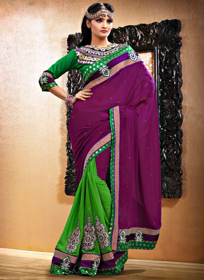Wine And Green Half N Half Saree