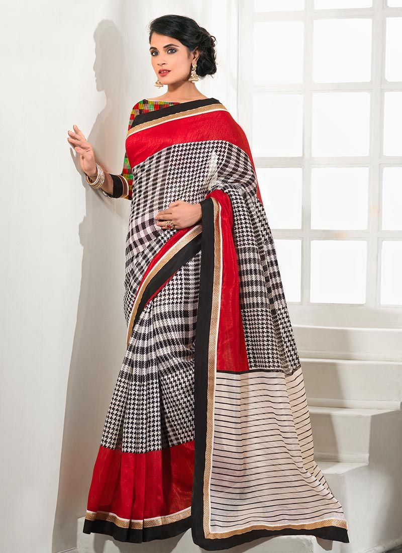 Black And Red Patch Border Work Silk Saree