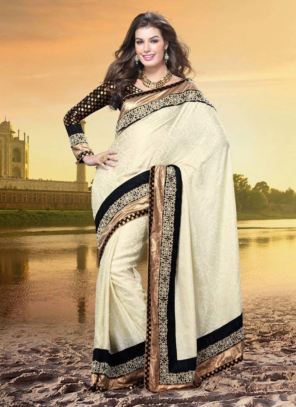 Cream Bhagalpuri Silk Saree