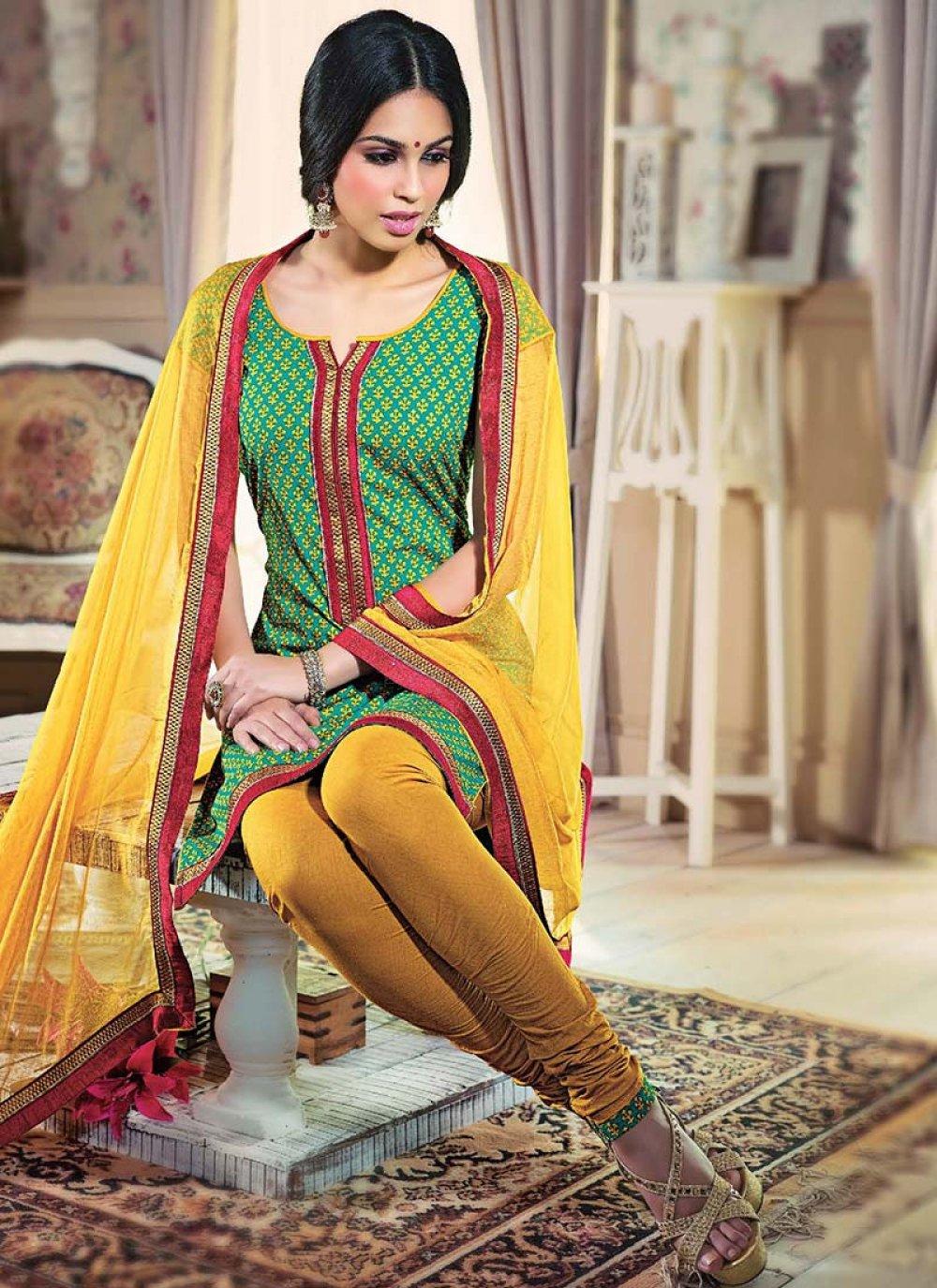 Green Printed Cotton Churidar Suit