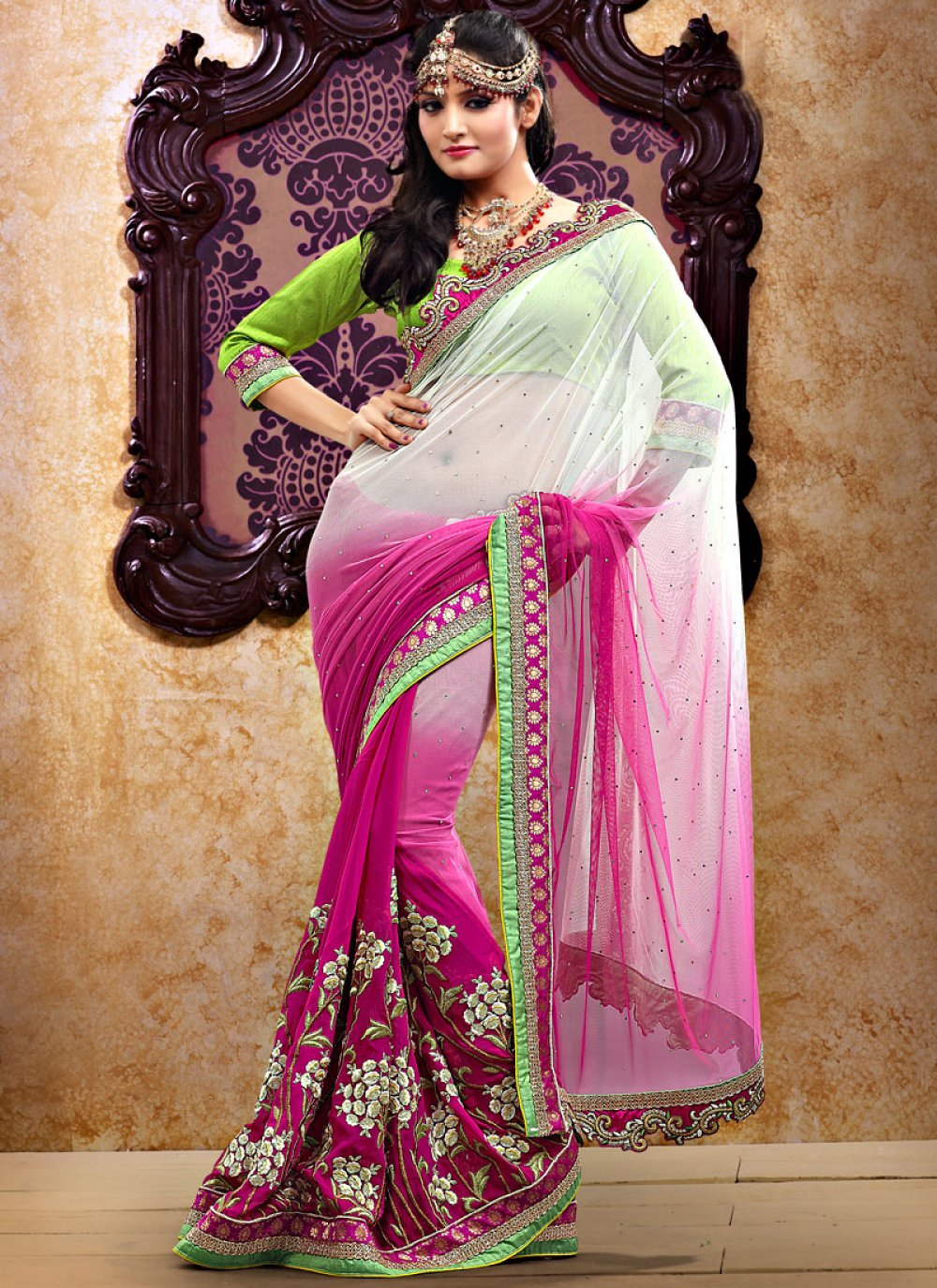 Magenta Shaded Net And Georgette Saree