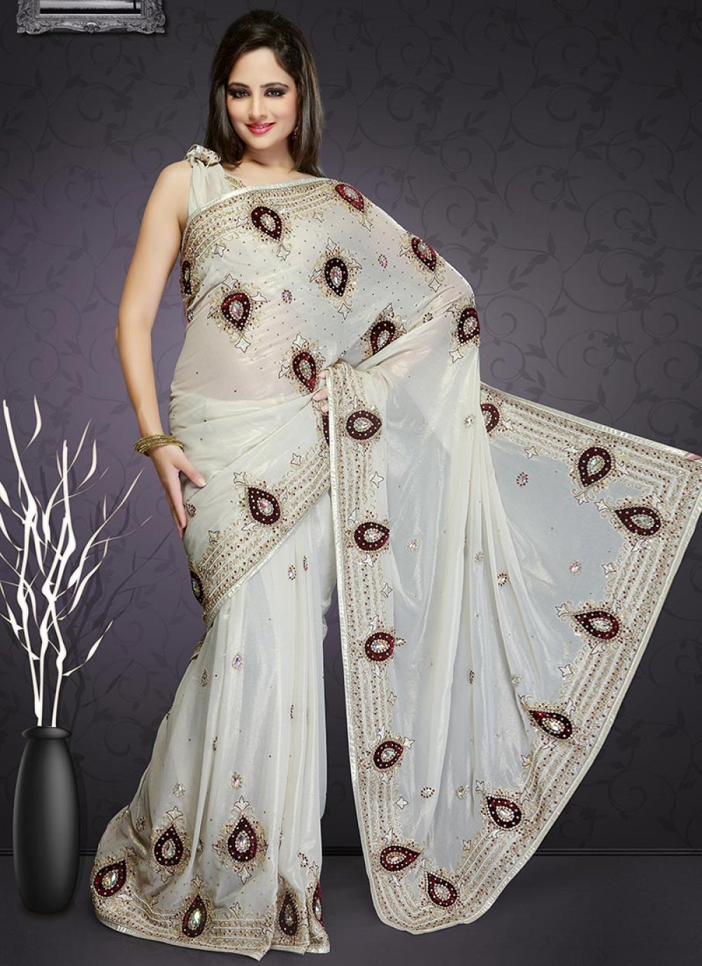 Off White Shimmer Georgette Saree
