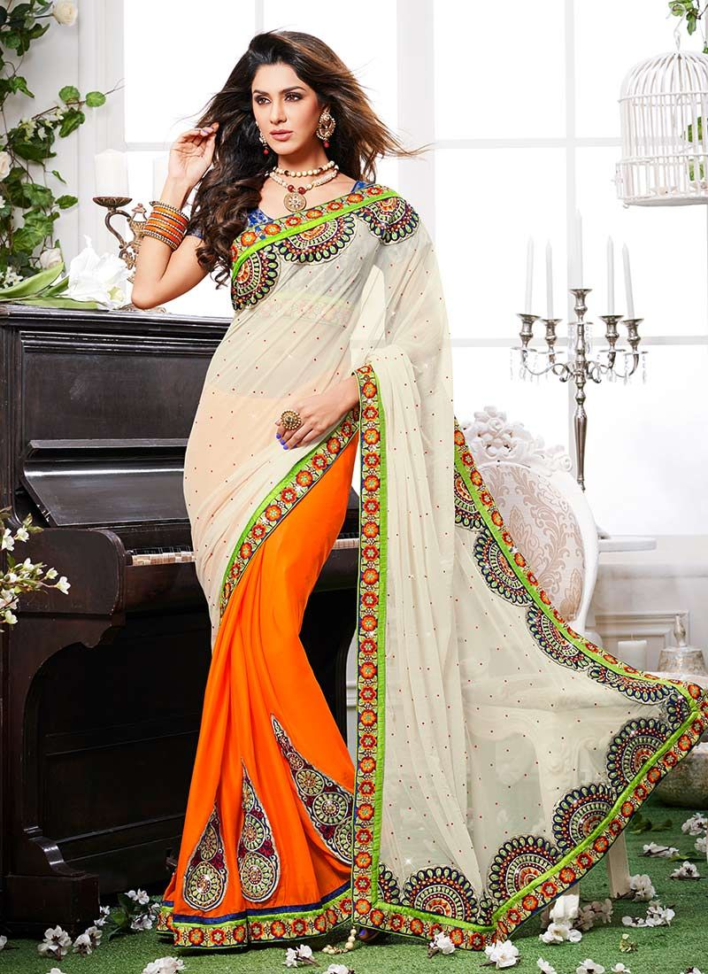 Orange Net Georgette Half And Half Saree