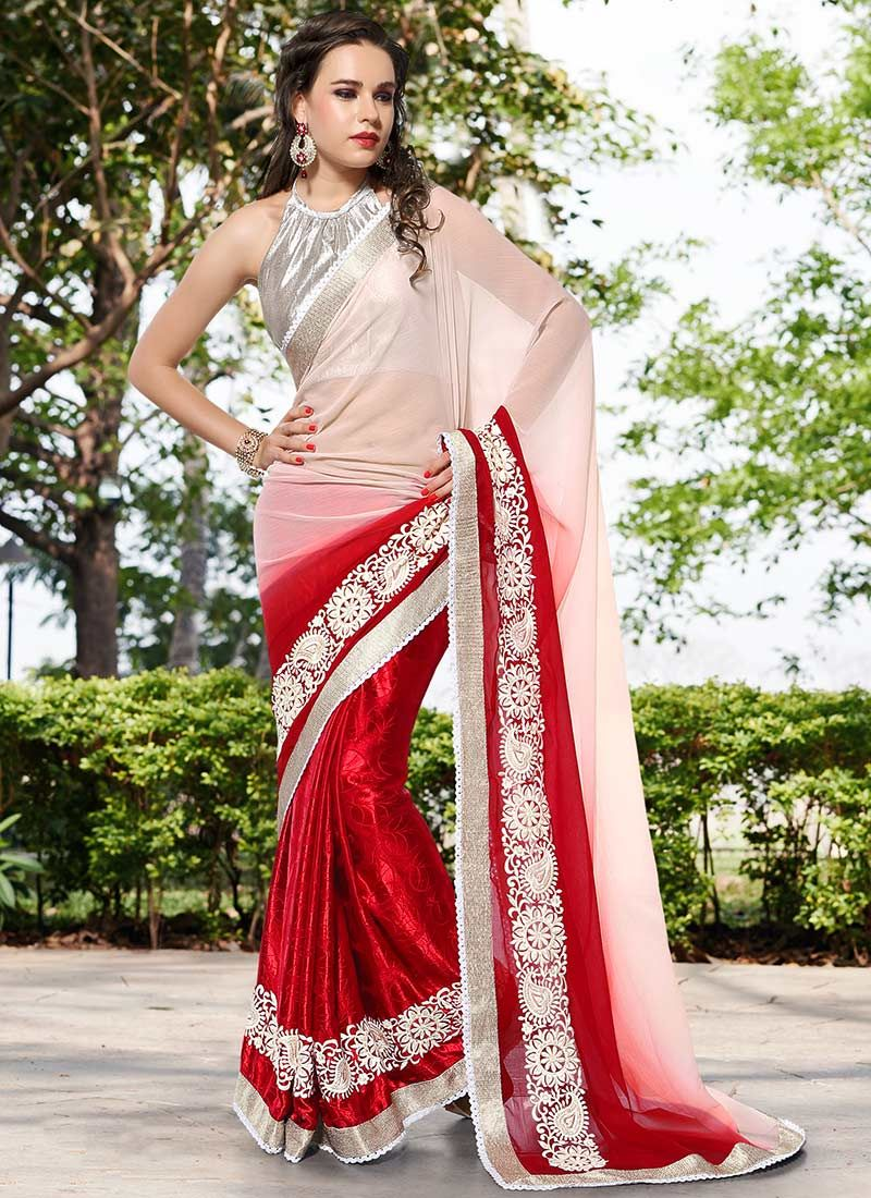 Red Chiffon Georgette Patch Border Work Saree