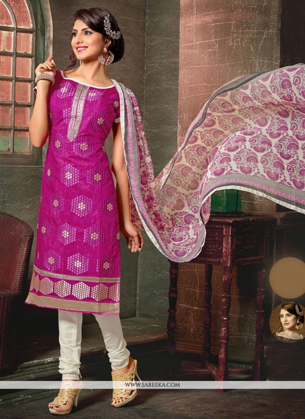 Embroidered Work Hot Pink Churidar Designer Suit