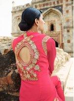 Hot Pink Lace Work Georgette Designer Salwar Suit