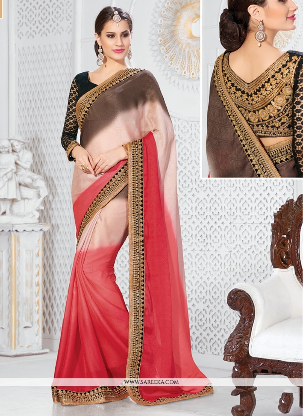 Jacquard Red and Brown Embroidered Work Designer Saree