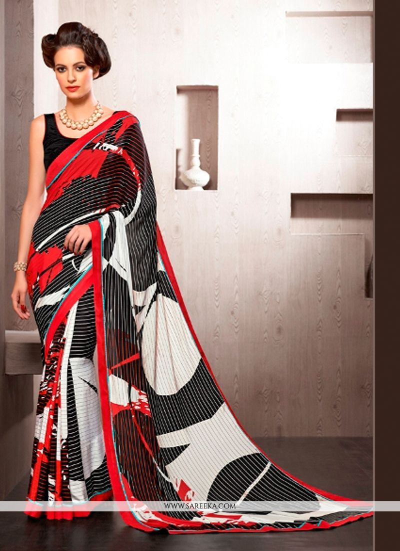 Print Work Crepe Silk Casual Saree