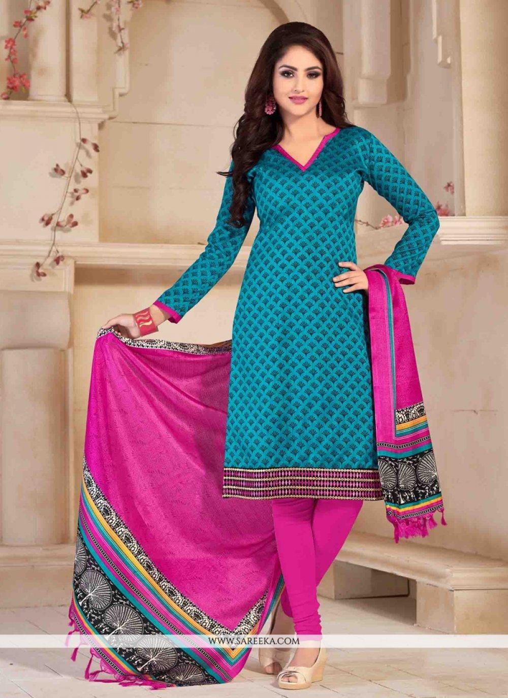 Banglori Silk Print Work Churidar Salwar Suit