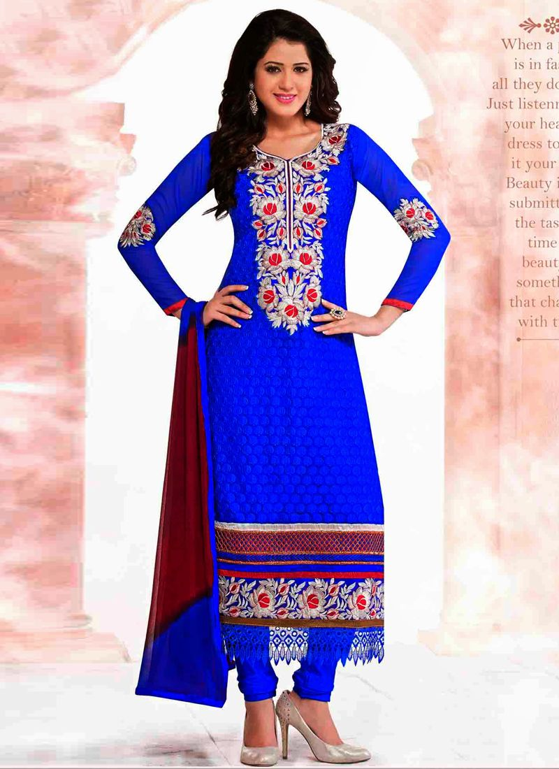 Blue Embroidery Work Churidar Suit
