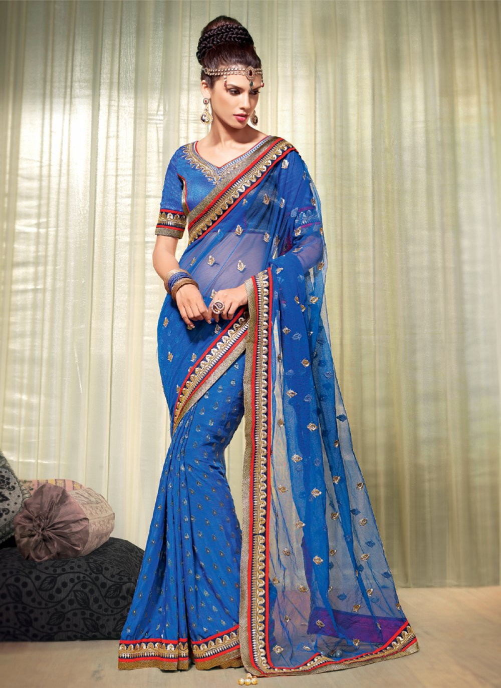 Blue Viscose Designer Saree