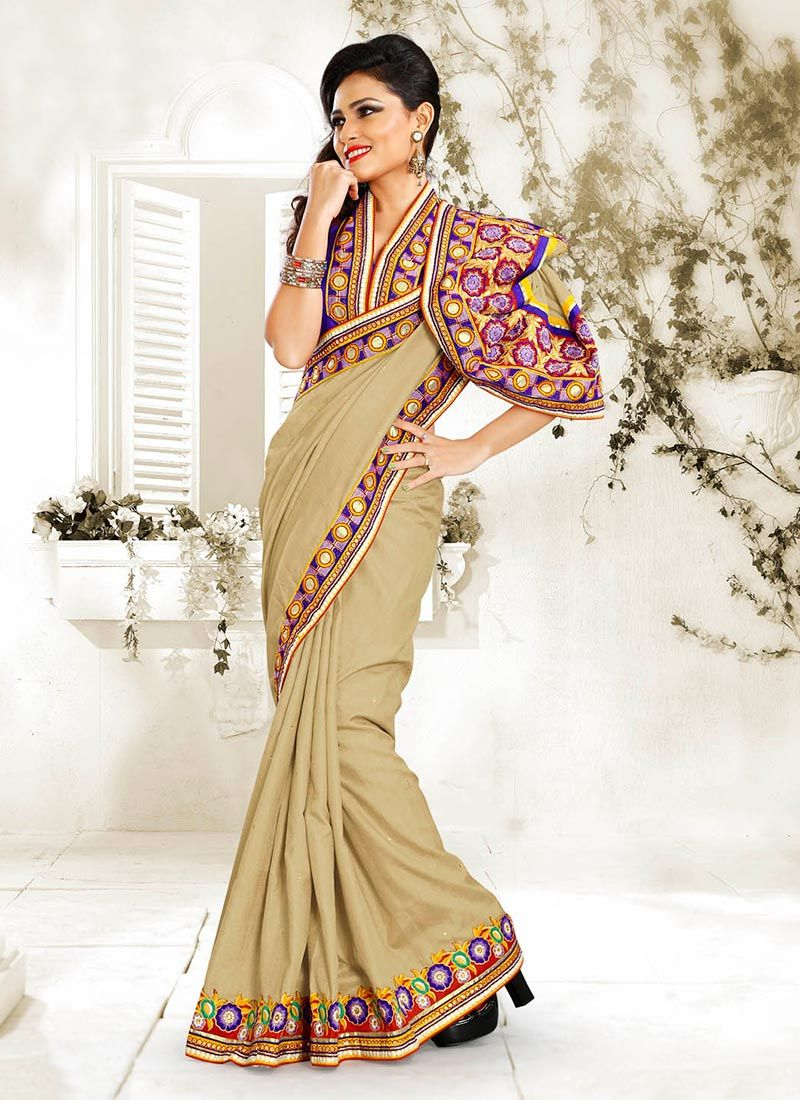 Cream Manipuri Silk Saree