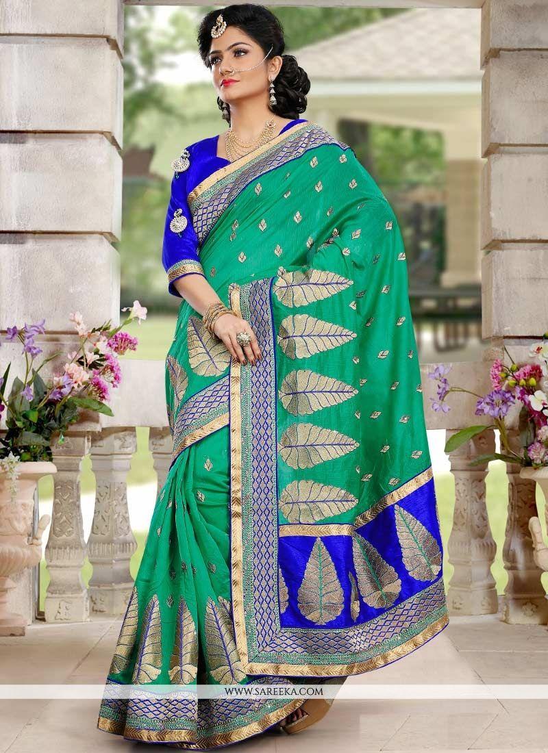 Green Chanderi Silk Designer Saree