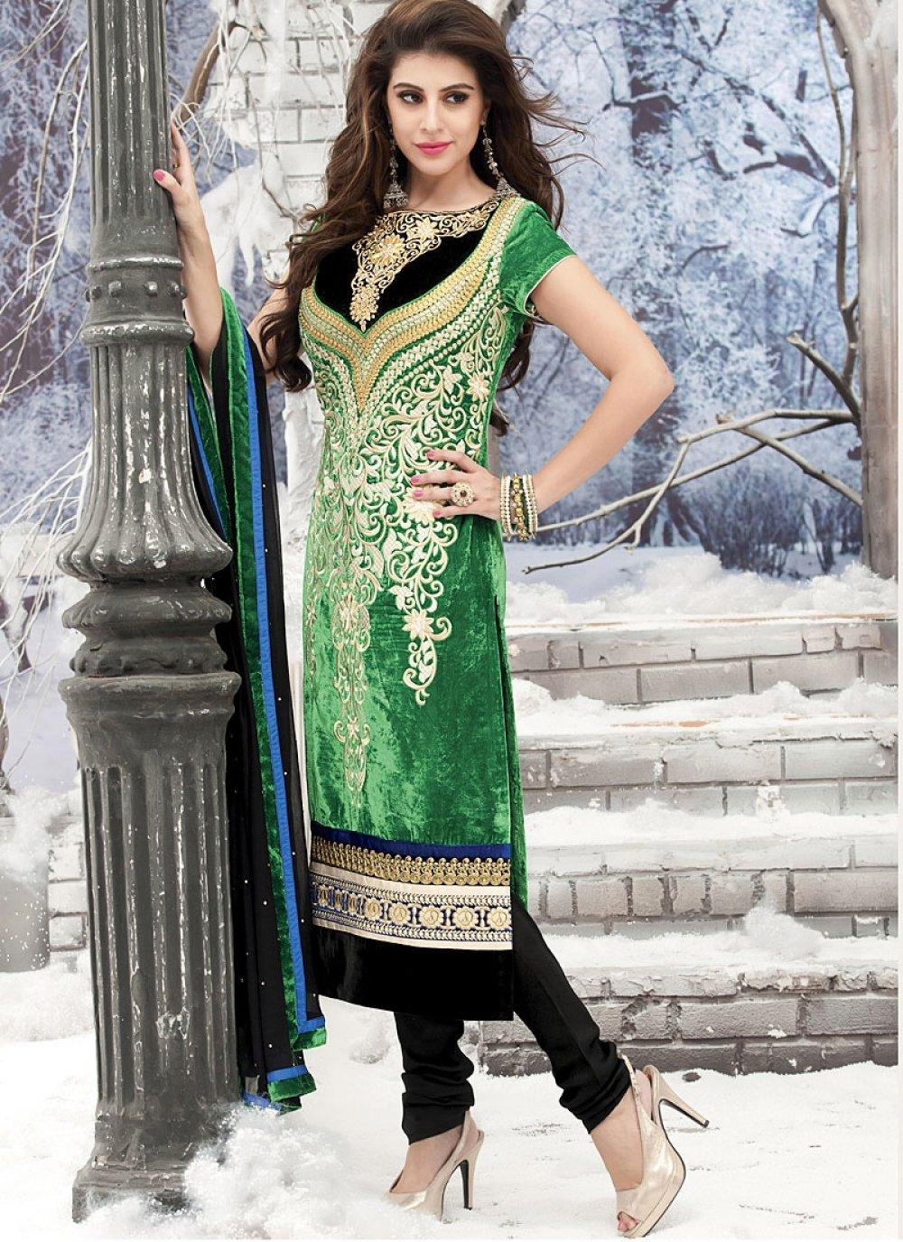 Green Resham Work Churidar Suit