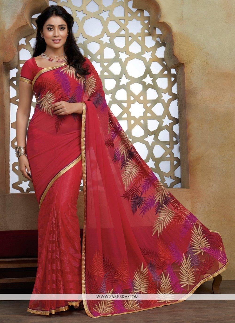 Hot Pink Lace Work Designer Saree