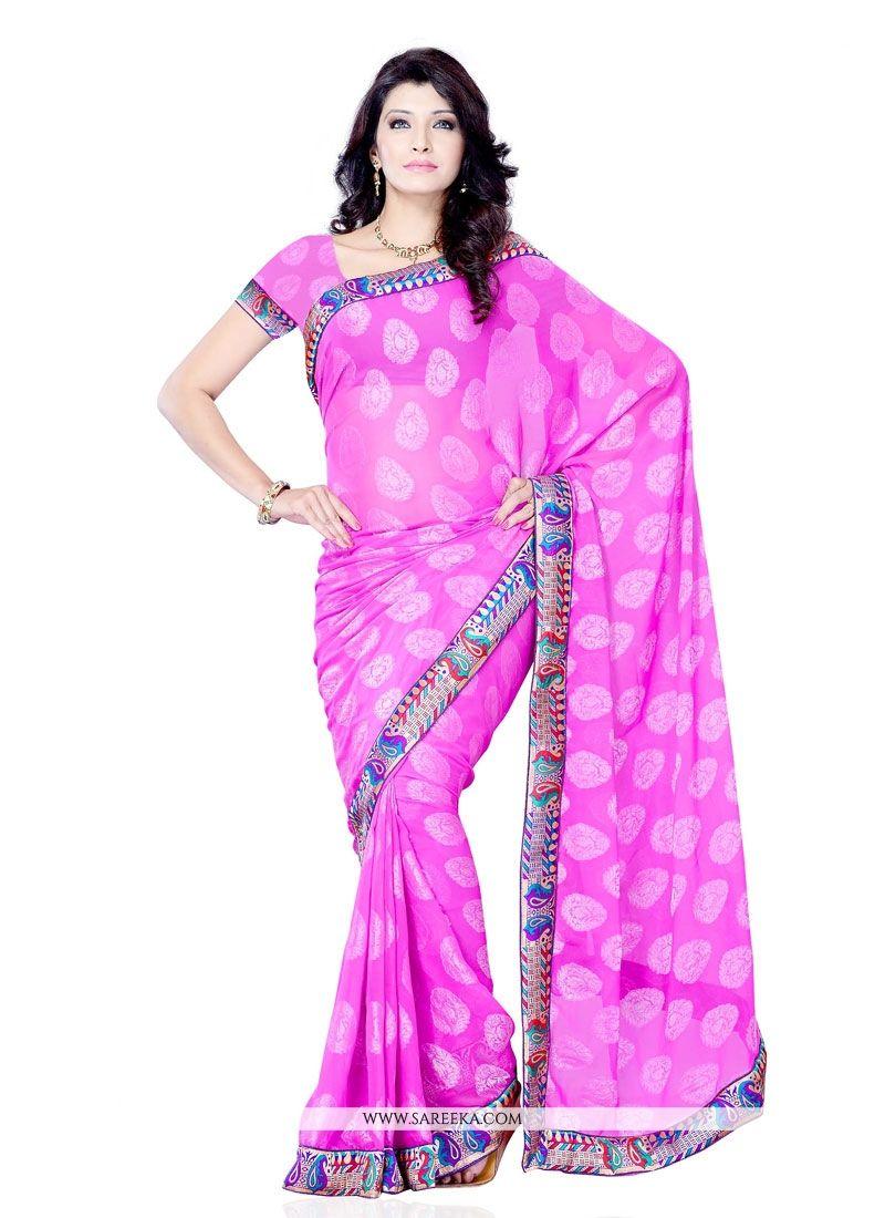 Jacquard Hot Pink Designer Saree