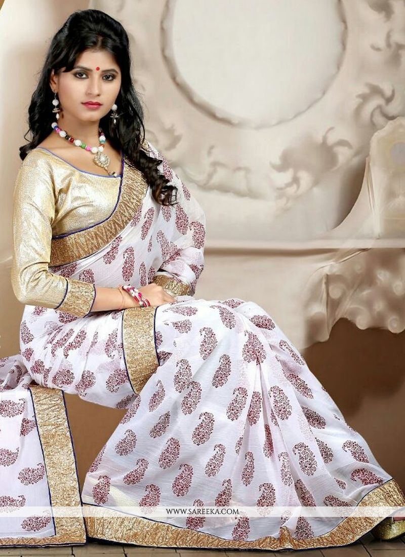 Off White Print Work Casual Saree