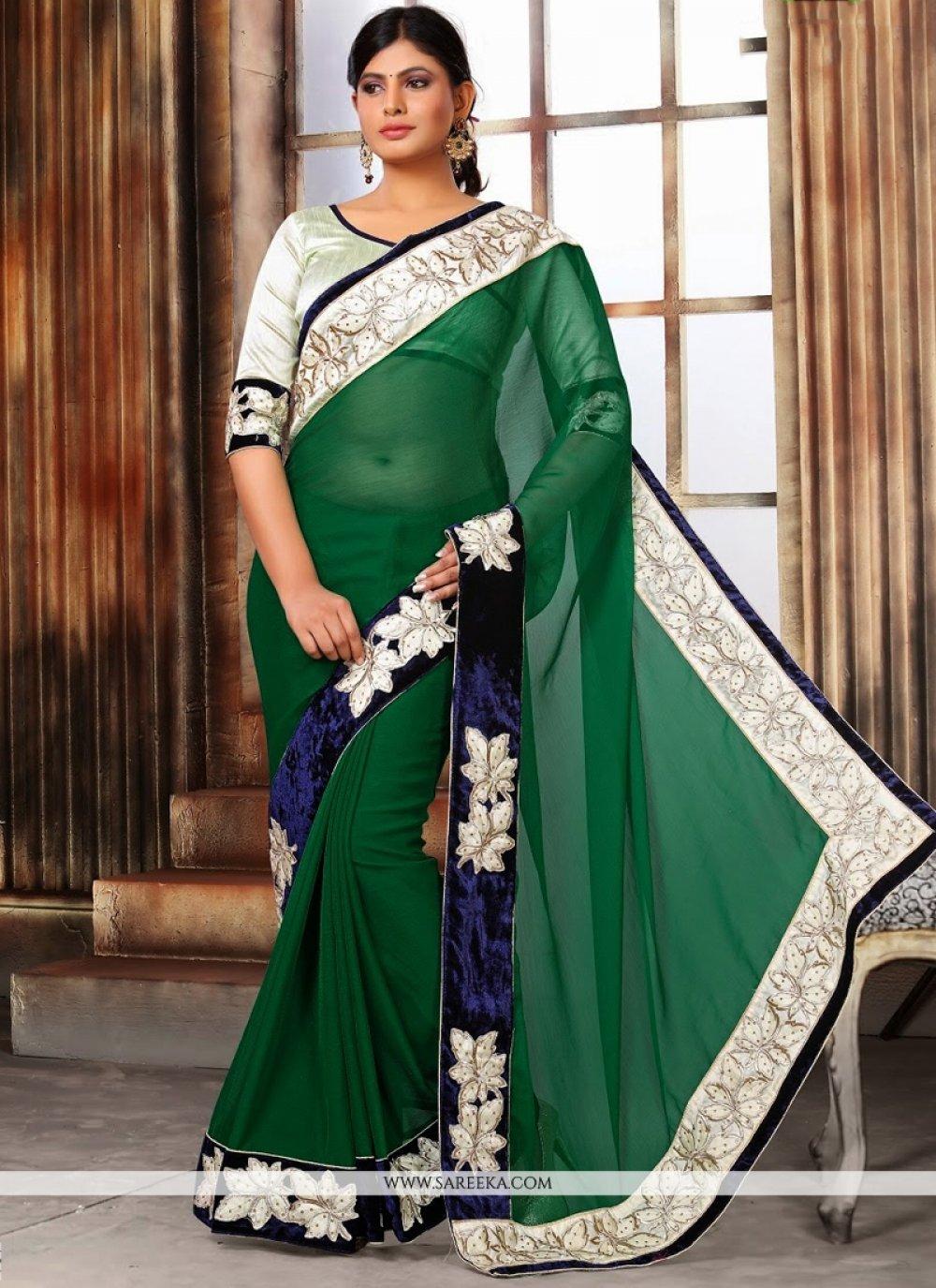 Pure Chiffon Embroidered Work Designer Saree